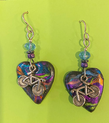 Bicycle Heart Earrings by Cathy Frank