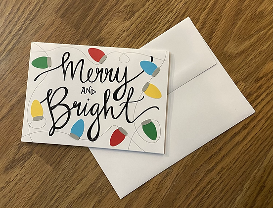 Merry and Bright, Greeting Card by Sweet Baby Paper Company