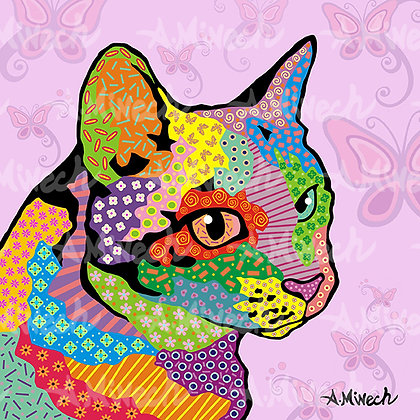 Cat Pop Art, - by April Minech