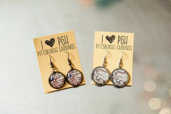 Pittsburgh Map Earrings