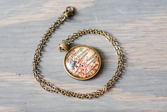 Vintage Pittsburgh Map Necklace