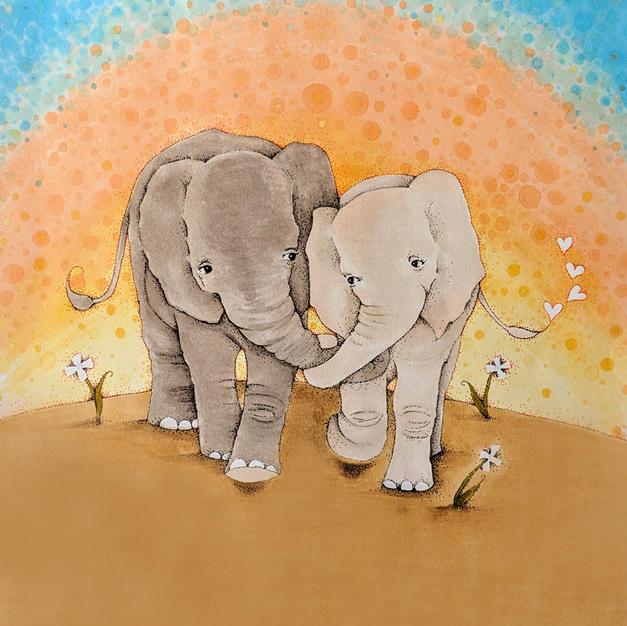 Elephants Holding Trunks