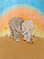 Elephant Holding Trunks