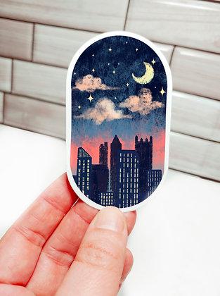 Waterproof Vinyl Nighttime Dreamy Pittsburgh Skyline Sticker