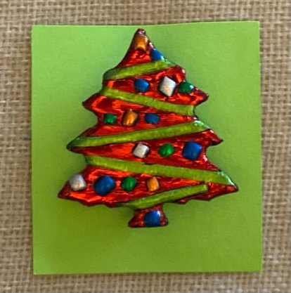 Red Christmas Tree Pin, by Cathy Frank