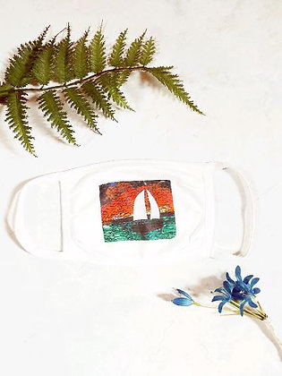 """Sailboat """"Love Will Sea You Through"""" 2-Layer Face Mask"""