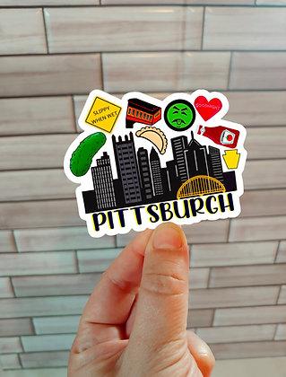 Waterproof Vinyl Pittsburgh Icons  Sticker |  Pierogi | Pickle | Incline