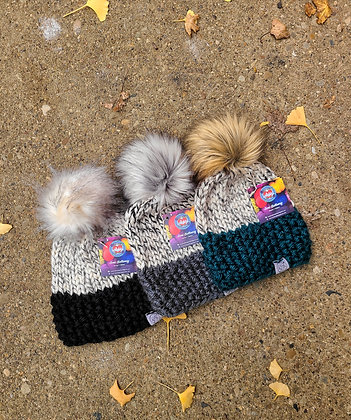 Child's Lola Knit 2 Tone Beanie, by Busy Hook Happy Heart