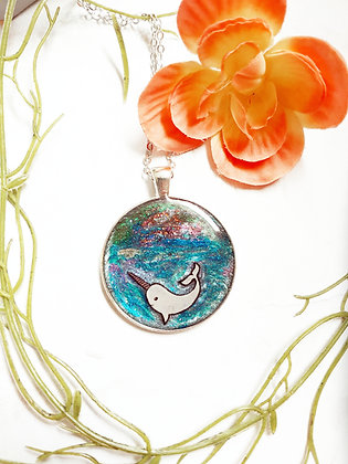 One of a Kind Resin Whale Pendant
