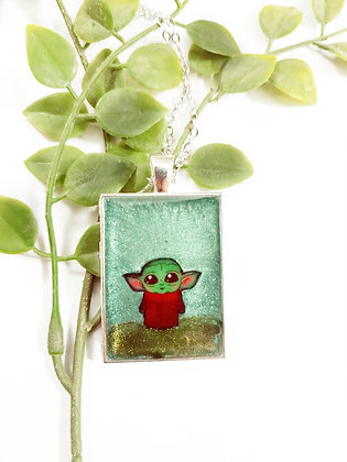 One of a kind Resin Baby Yoda Necklace