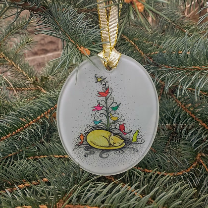 Cat with Christmas Tree Glass Ornament by Katya
