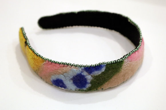 Bead, Felt, and Floral Headband by Connie Blair of Tender Blossoms: Style 2
