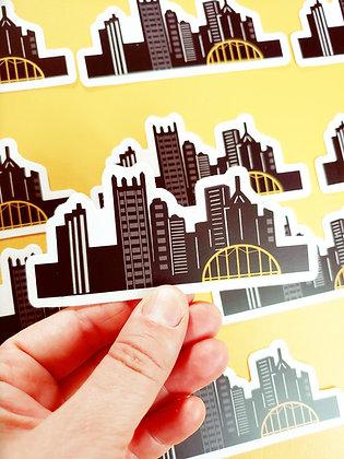 Waterproof Vinyl Pittsburgh Skyline Large Sticker