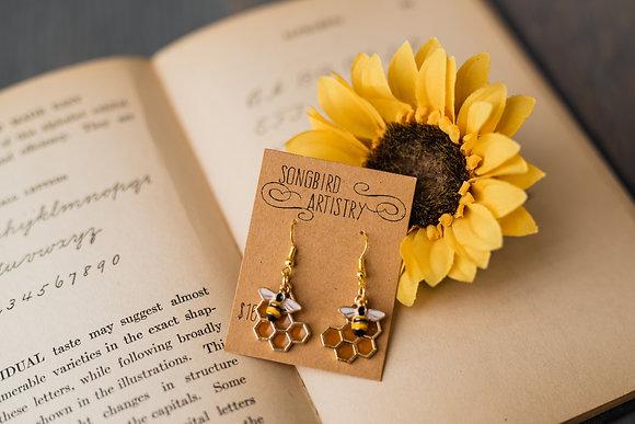 Delightful Resin Bee and Honeycomb Earrings