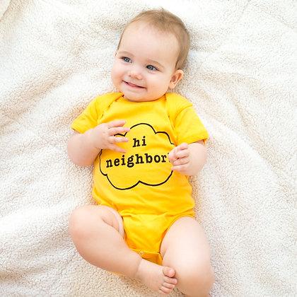 """Hi Neighbor"" Yellow Onesie"