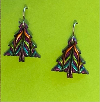 Christmas Tree Earrings - small, by Cathy Frank