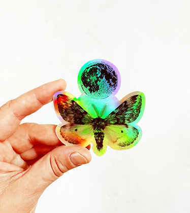 Waterproof Holographic Vinyl Moth and Moon Sticker