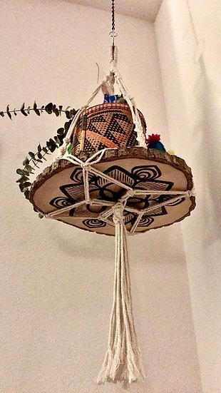 Mandala Pyrography (wood burned) Macrame hanging shelf