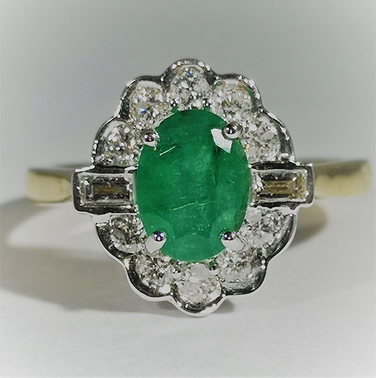 9 Carat Emerald and Diamond Clustered Ring