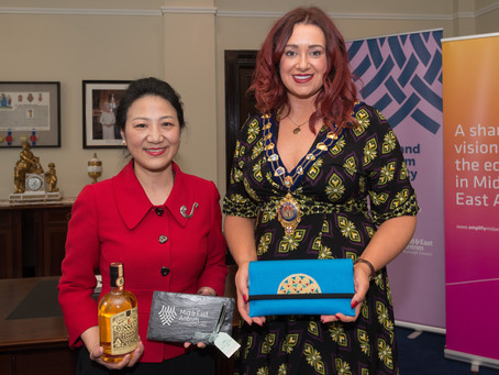 Madam Zhang, The NI Consul General to The Peoples Republic of China presented with Brooch