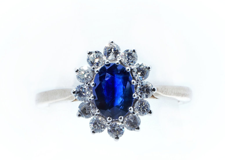 Sapphire and Diamond 'Princess Diana' Style Engagement or Dress Ring