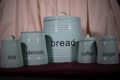 35. Five Piece Matching Bread Bin, Coffee, Tea and Sugar Set