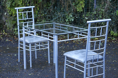 274. Glass & Steel Table with Two Chairs