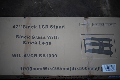 "199. 42"" Black Glass and Legs LCD Stand with Three Shelves"