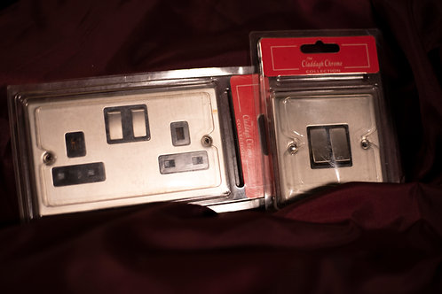 426.Double Light Switch and Double Socket (Brushed Steel Finish)