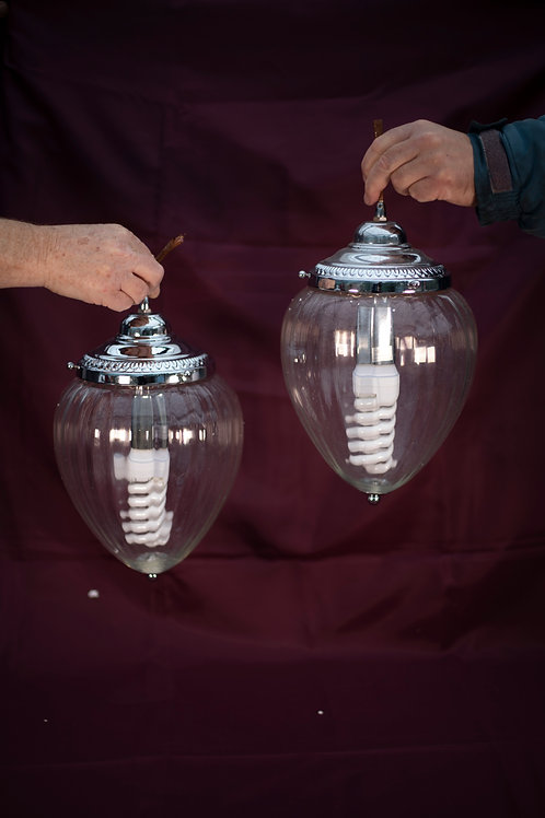 137. A Pair of Chrome Ribbed Glass Lanterns
