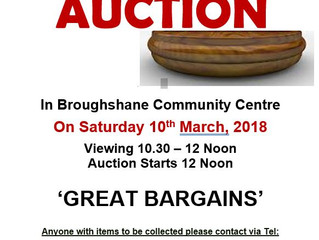 Broughshane Improvement Committee Annual Auction - 10th March ar 10:30am