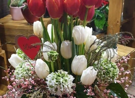 Dancing tulips in glass
