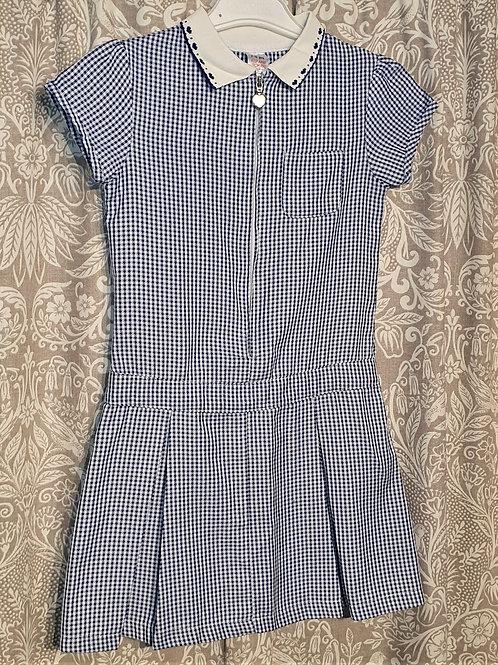 Navy Gingham Zip Dress - 7-8 yrs