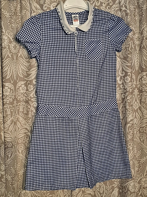 Navy Gingham Zip Dress - 7-8 yrs