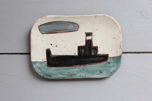 Steamer and Cloud postcard plate