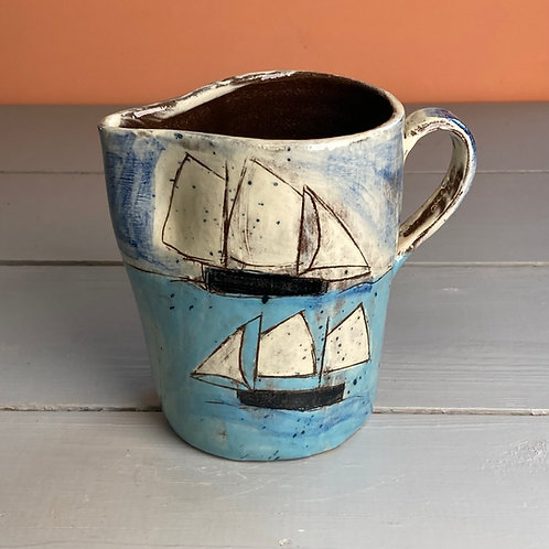 Two Ships with White Sails Jug