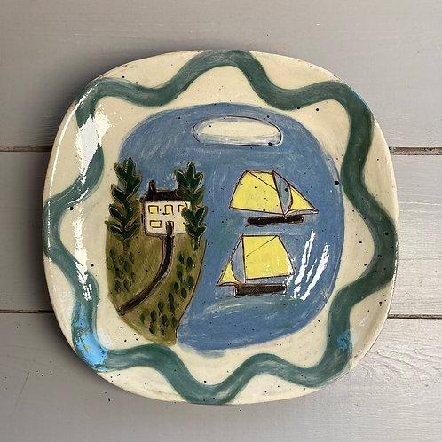 Two Yellow Boats Platter