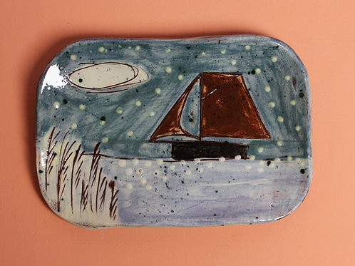 Sailing under the stars postcard plate