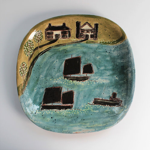 Sailing Boats and Houses Square Platter