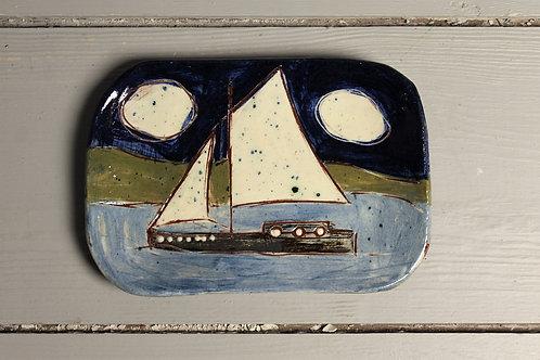 Night Sailing Postcard Plate