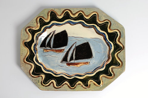 Two Ships with Gold Wavy Edge Platter