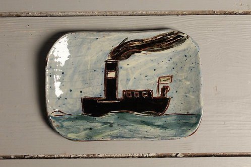 Steaming Along Postcard Plate