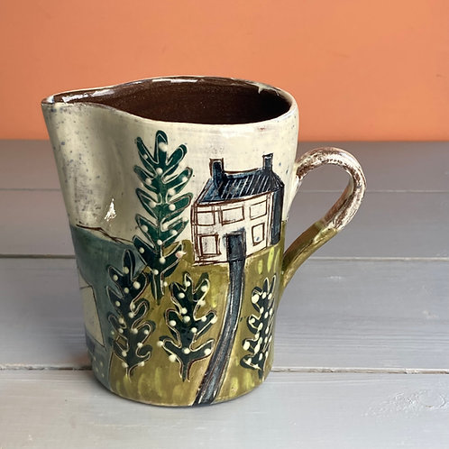 House and Trees by the Coast Jug