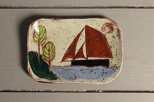 Lime Trees and Red Sails postcard plate