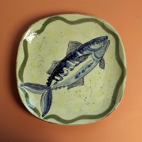 Mackerel and Subtle Yellow Spots Square Platter