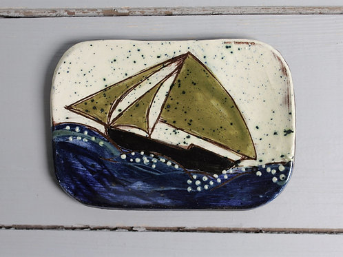 Green Sail postcard plate