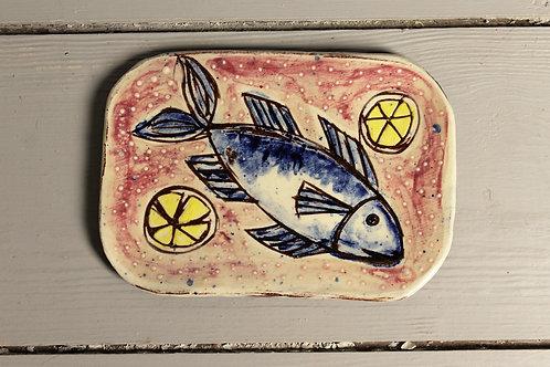 Blue Mackerel with Lemons Postcard Plate