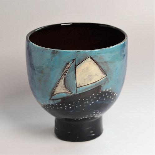 House and Sails Pedestal Bowl