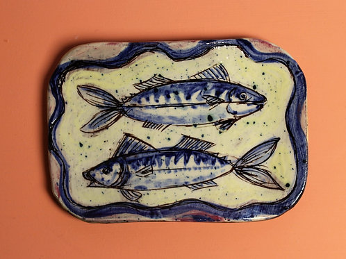 Two Mackerel postcard plate