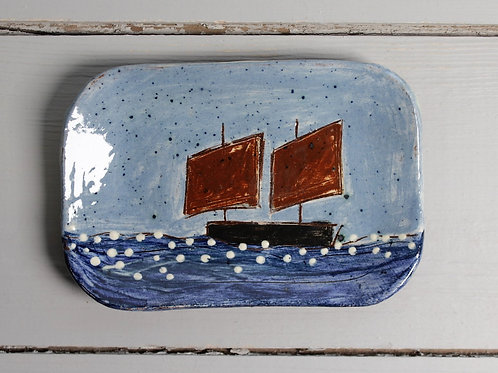 Two Red Sails postcard plate